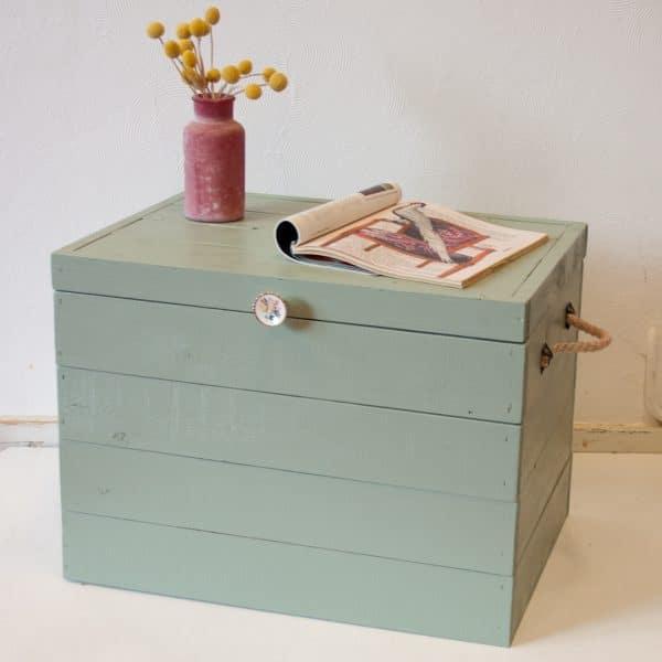 Praktische houten opbergkist met voldoende opbergruimte - Opbergbox - Opbergkist Kasteelgroen