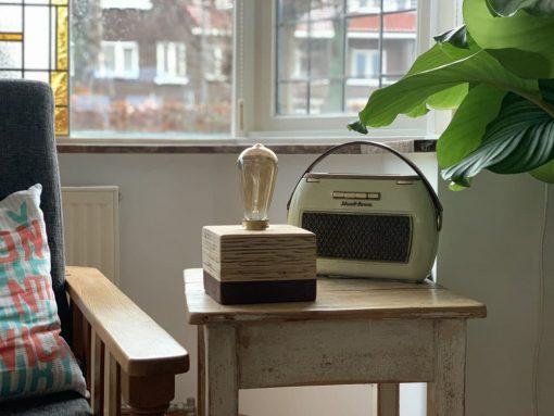 Design houten tafellamp Layer Light Cube Brown