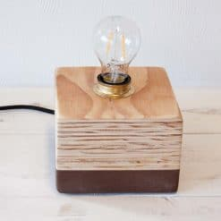 Design houten tafellamp Layer Light Cube Brown