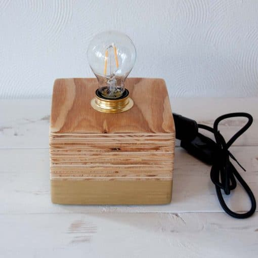 Design houten tafellamp Layer Light Cube Gold