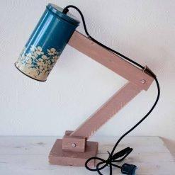 Retro tafellamp - Vintage Lichtblik Flower Blue