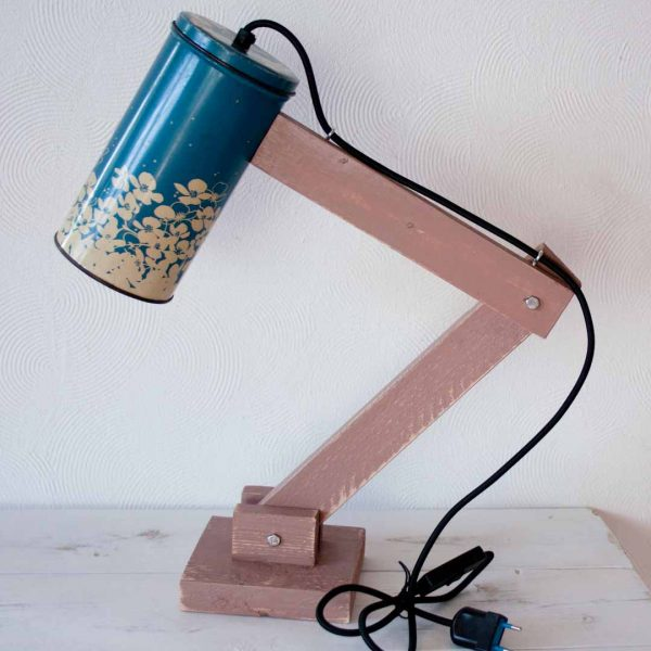 Retro tafellamp - Vintage Lichtblik Flower Blue