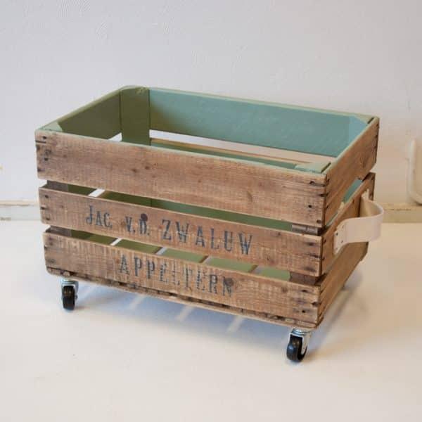 Houten retro opbergbox kasteeklgroen