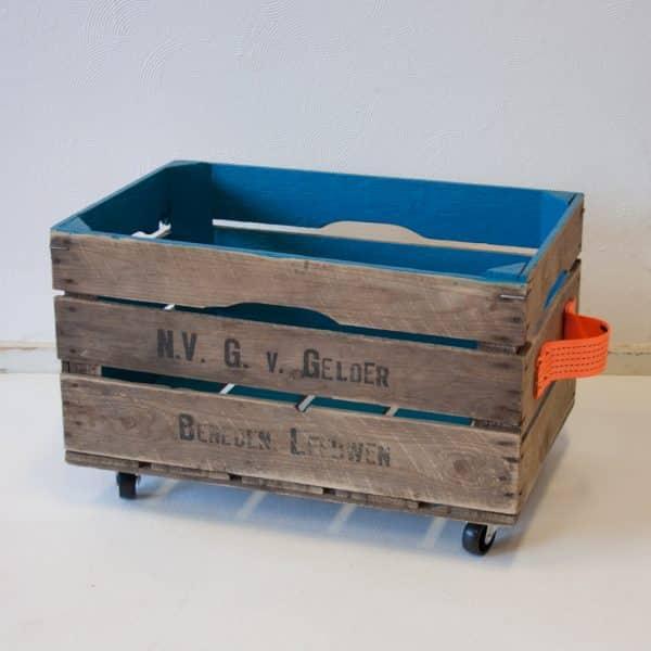 Stoere houten opbergbox Koninklijk Blauw