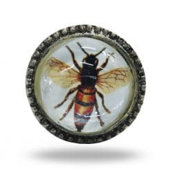 Metal and Glass Bee Knob