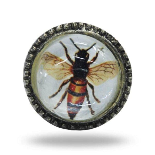 Metal and Glass Bee Knob
